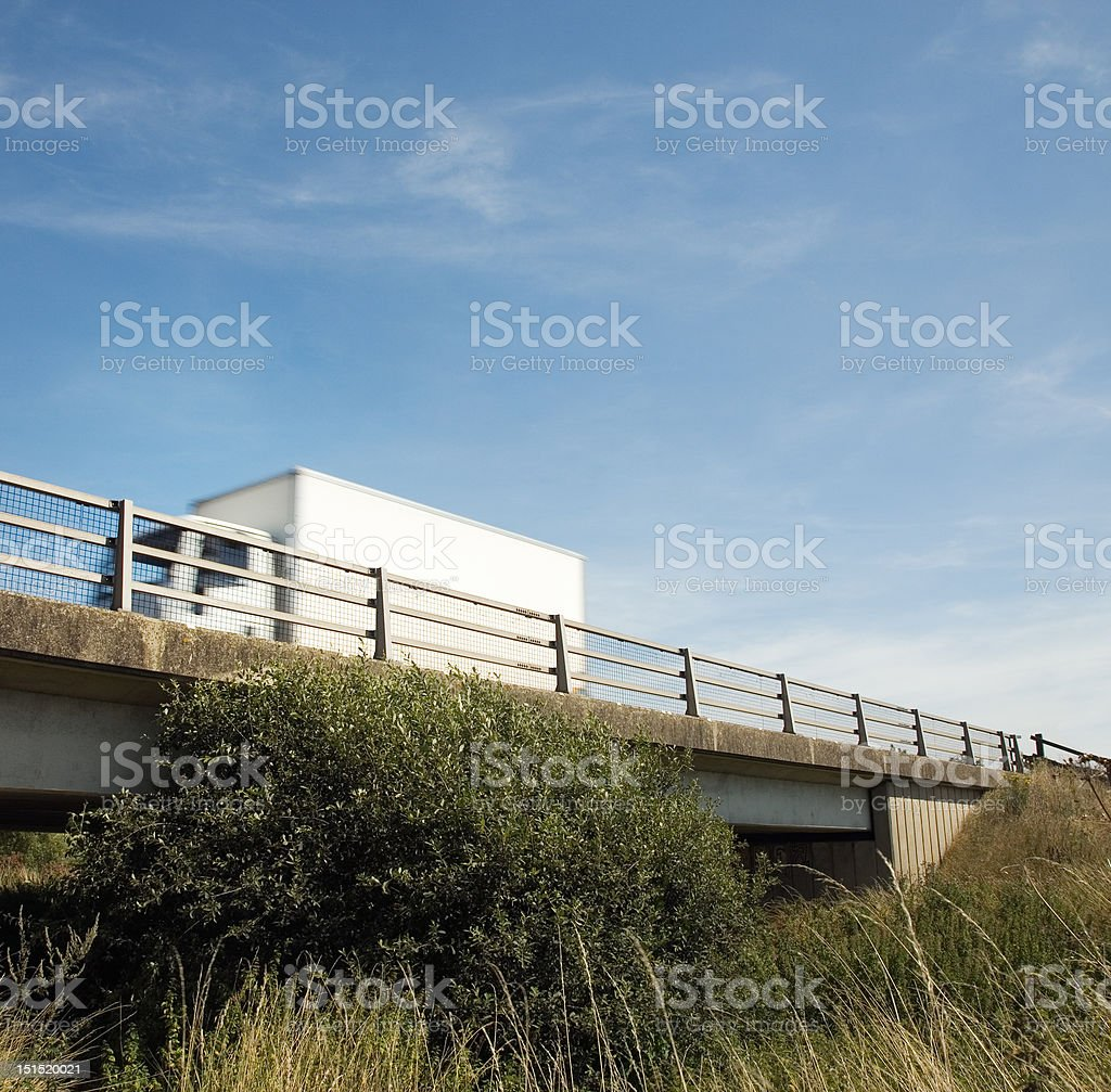 Truck crossing bridge, UK royalty-free stock photo