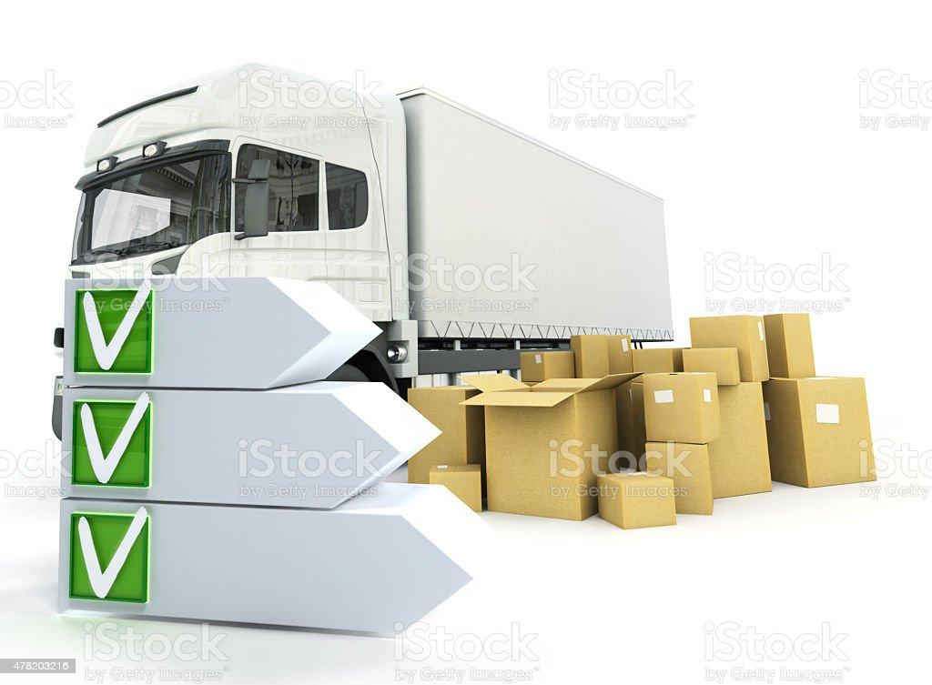 Truck delivery checklist stock photo
