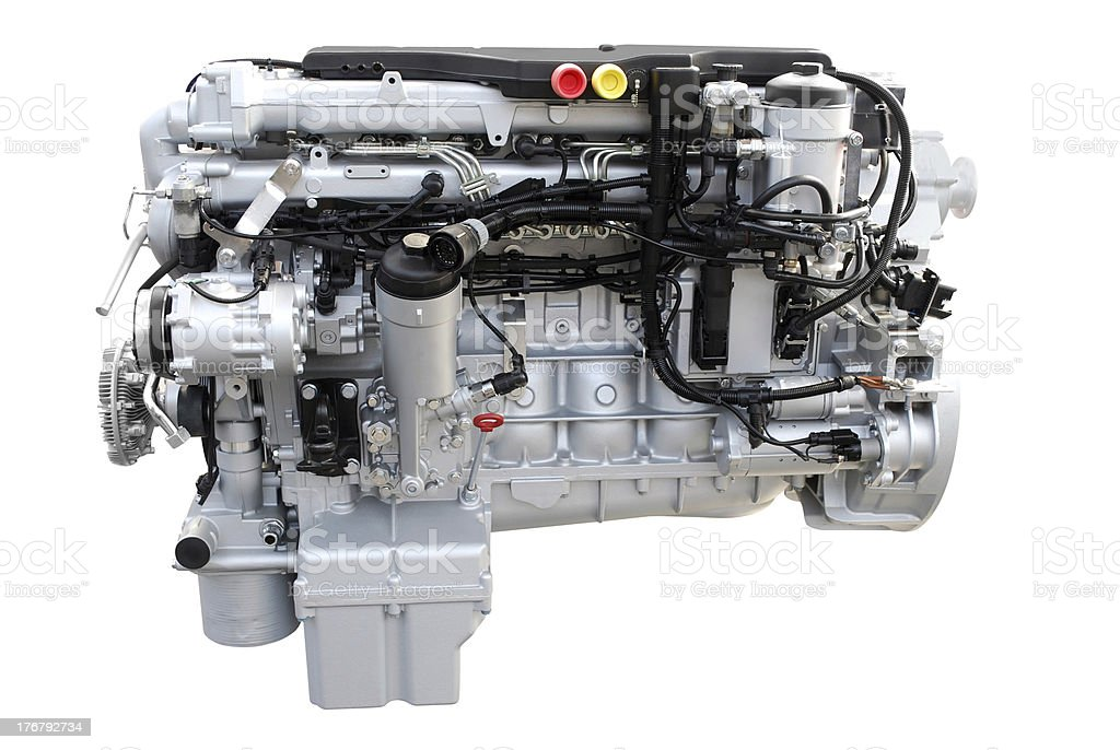 truck diesel engine isolated stock photo