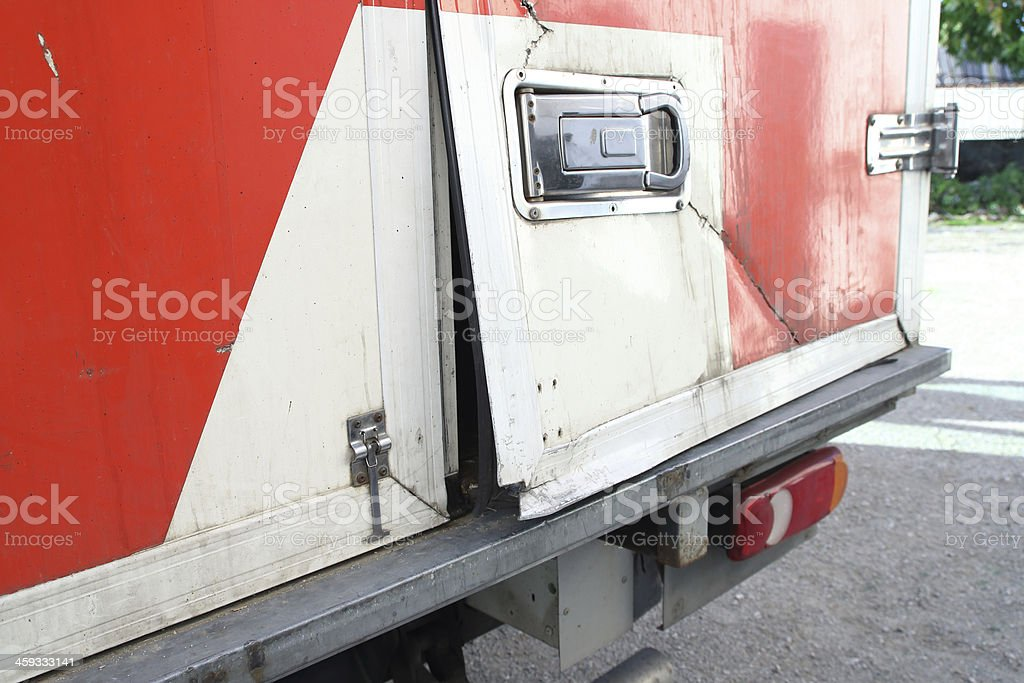 Truck door damaged by a thief stock photo