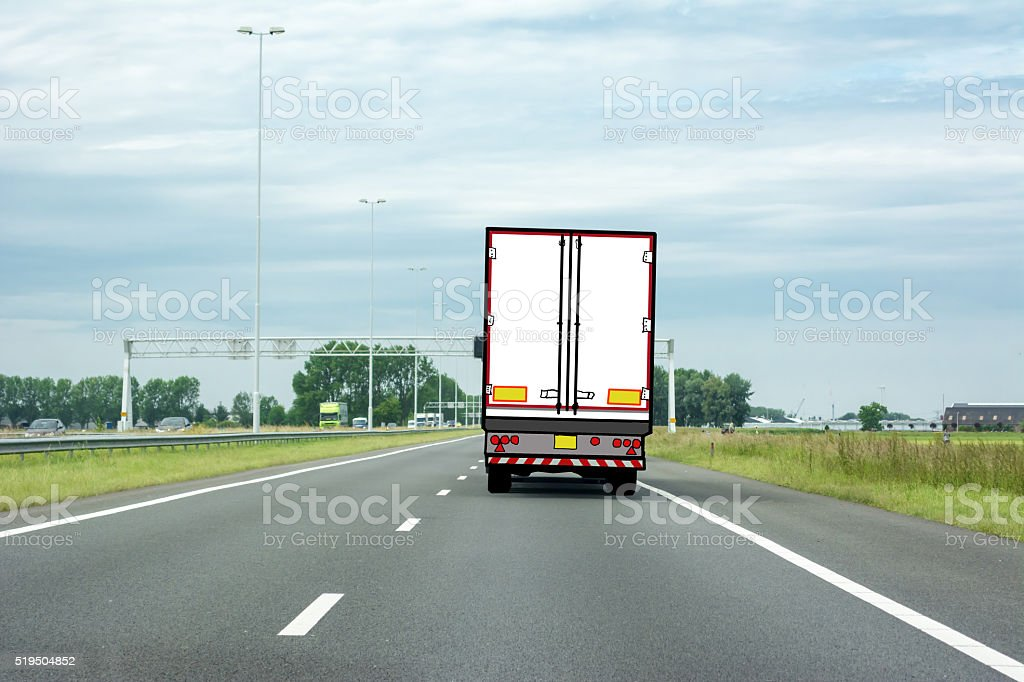 Truck drawing on highway (right drive) stock photo