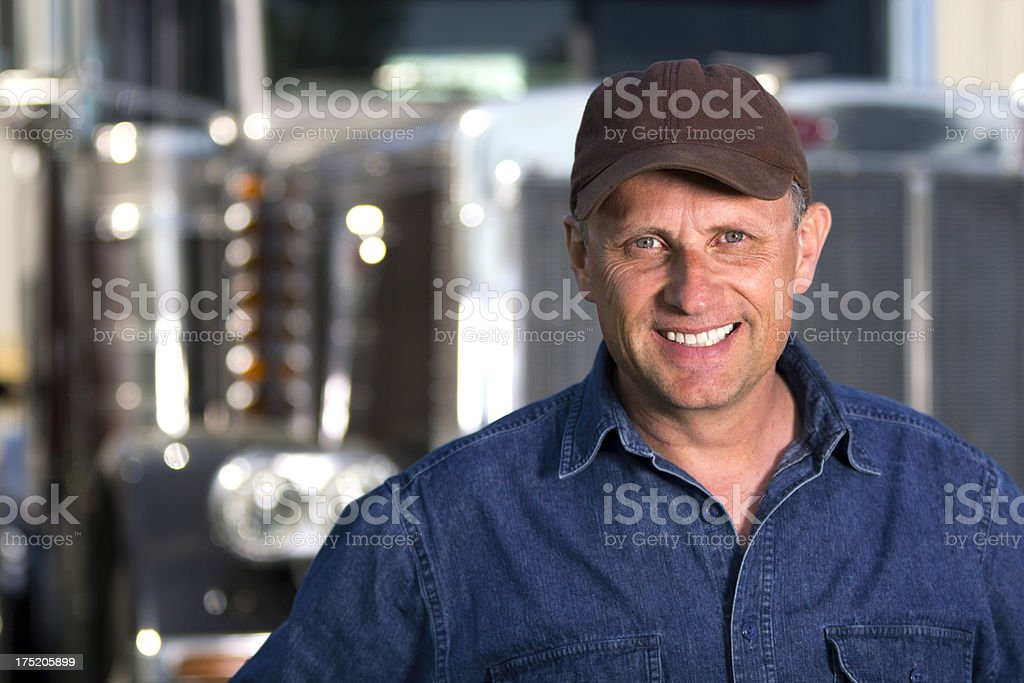Truck Driver and 18 Wheeler stock photo