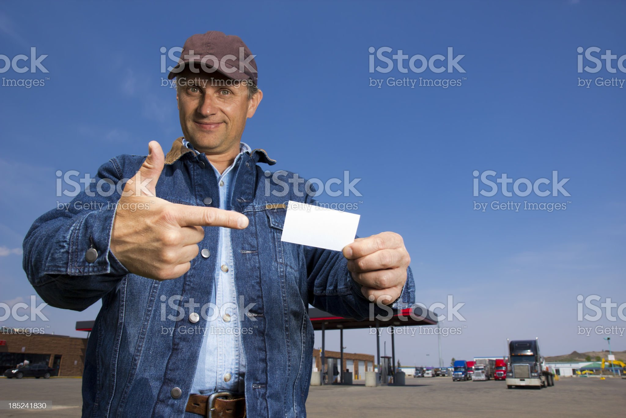 Truck Driver and Card royalty-free stock photo