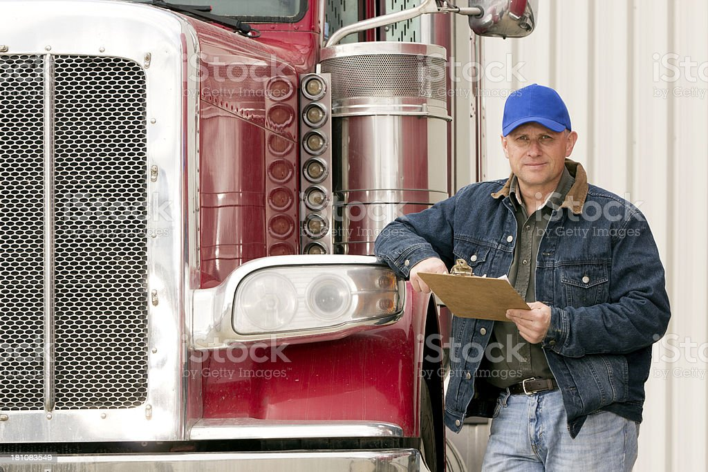 Truck Driver and Clipboard royalty-free stock photo
