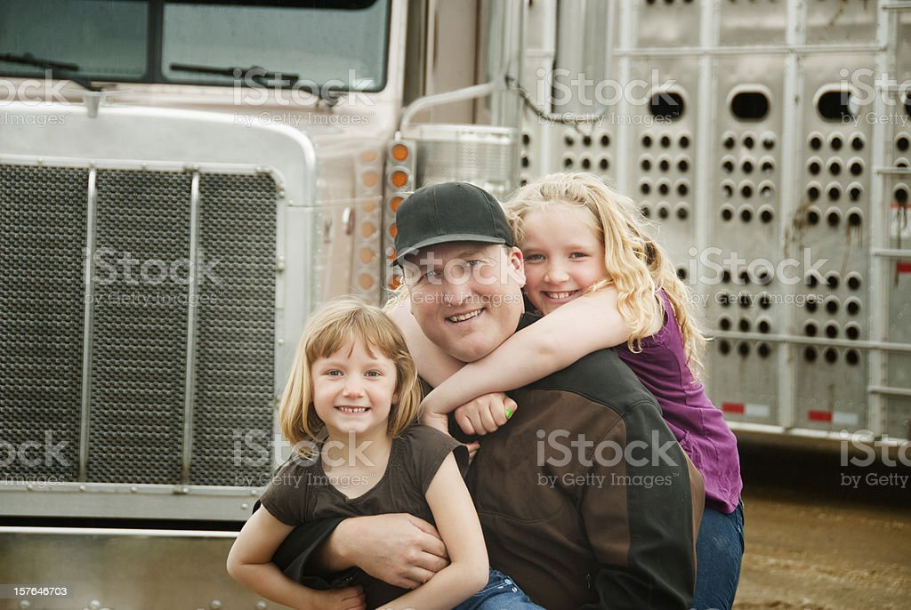 Truck Driver and his Daughters royalty-free stock photo