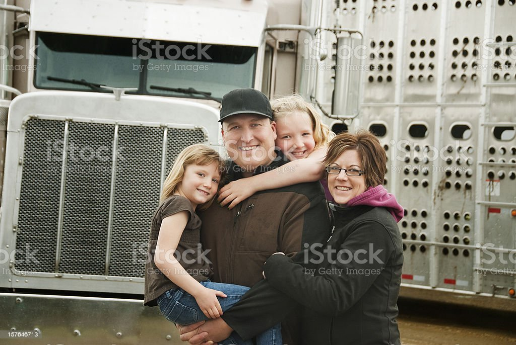 Truck Driver and his Family stock photo