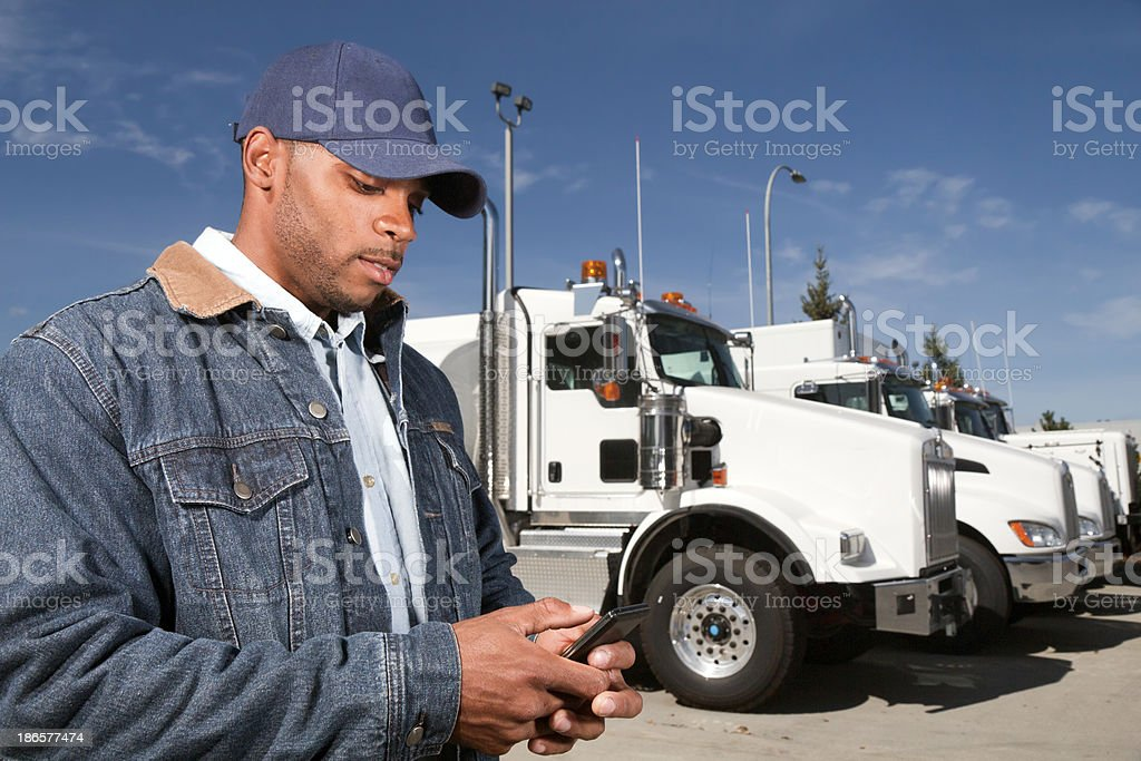Truck Driver and Texting stock photo