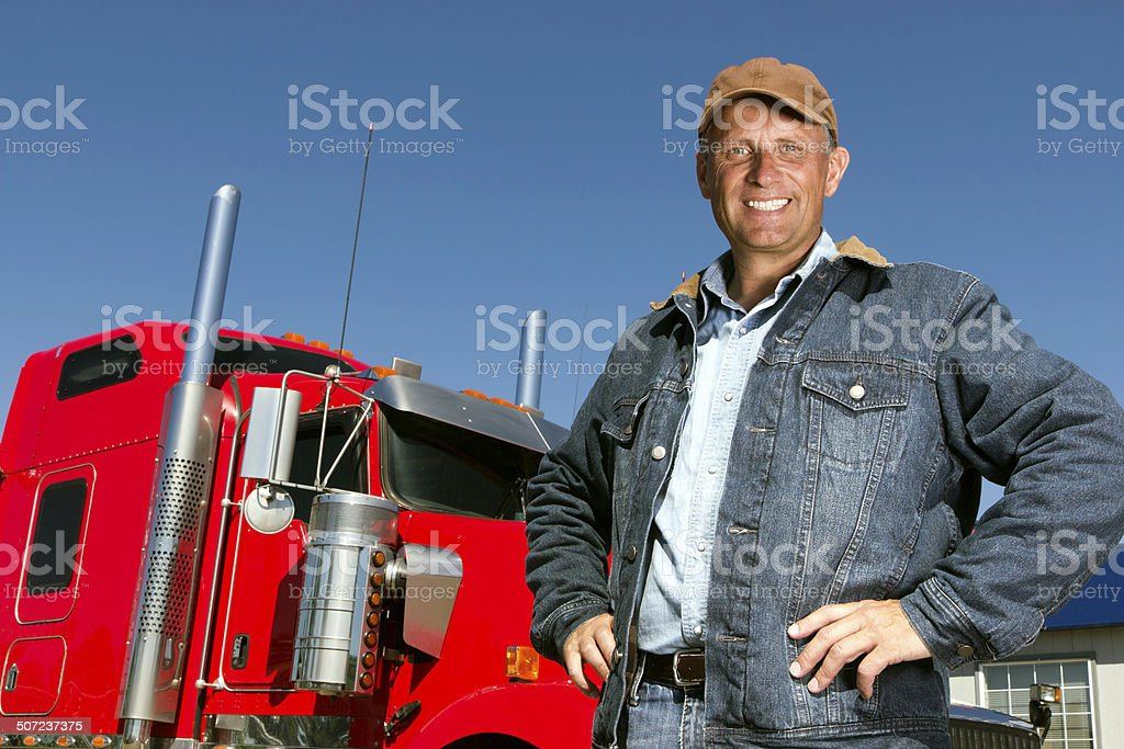 Truck Driver and Truck stock photo