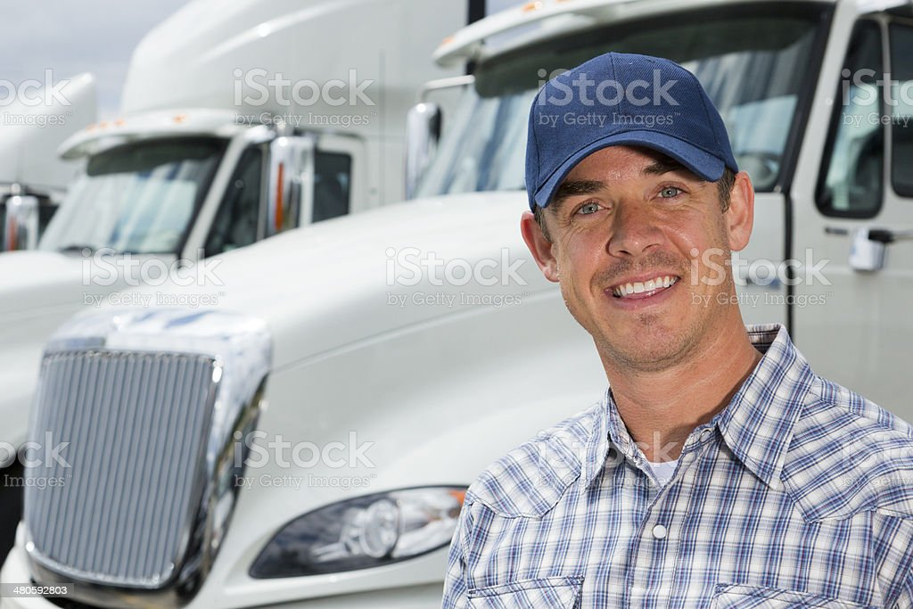 Truck Driver at the Depot stock photo