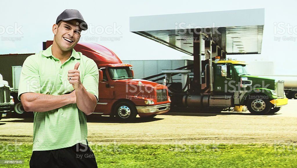 Truck driver at the petrol station stock photo