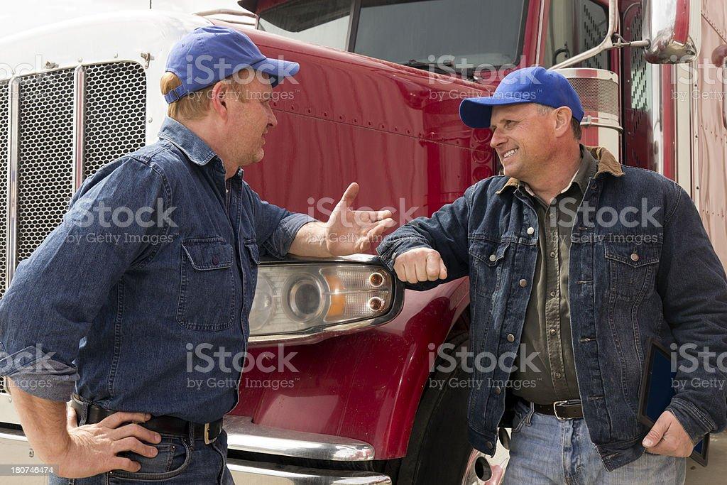 Truck Driver Conversation stock photo