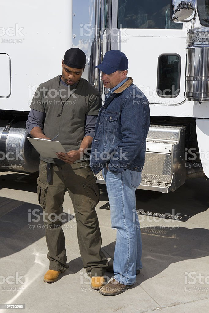 Truck Driver Discussion royalty-free stock photo