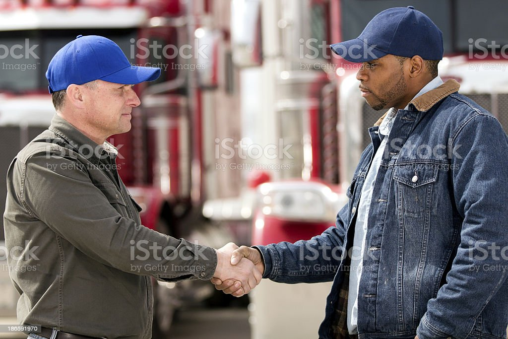Truck Driver Handshake royalty-free stock photo