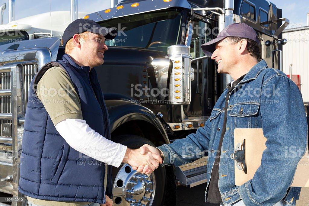 Truck Driver Handshake stock photo