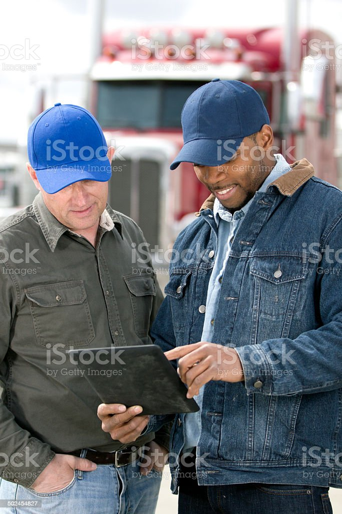 Truck Driver Meeting royalty-free stock photo
