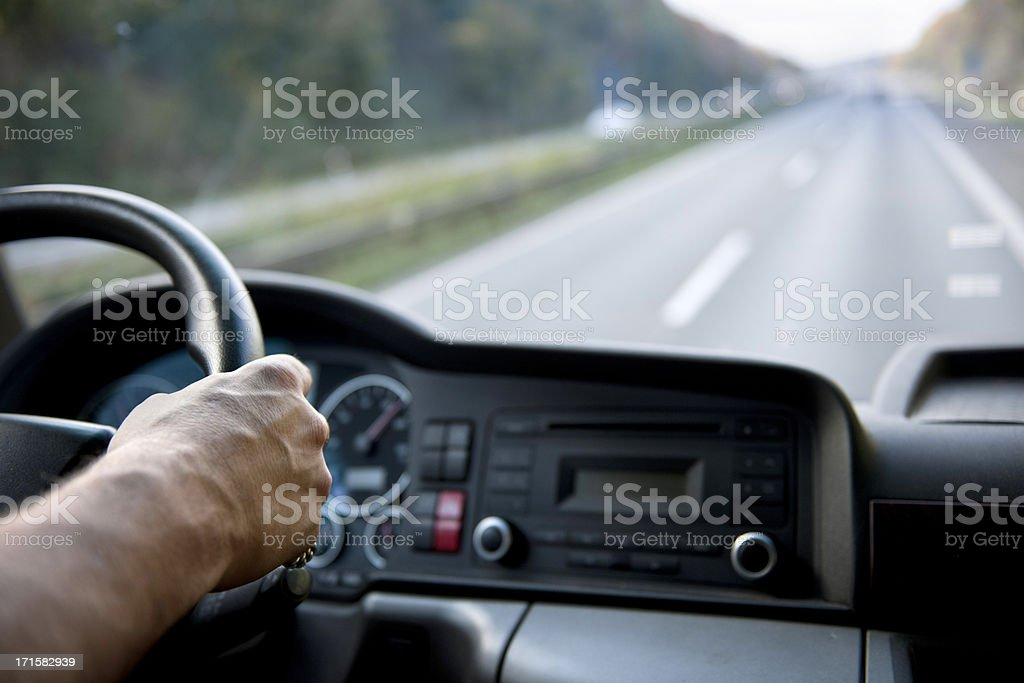 Truck driver on german autobahn royalty-free stock photo