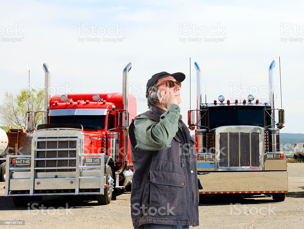 Truck Driver Phoning, California stock photo