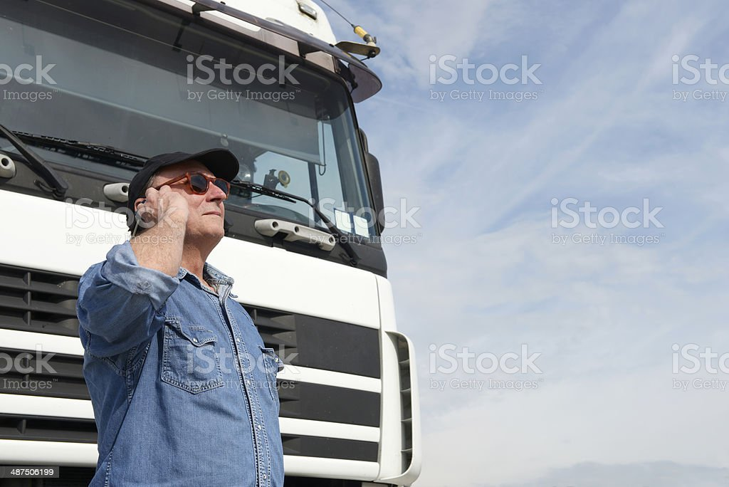 Truck Driver Phoning royalty-free stock photo