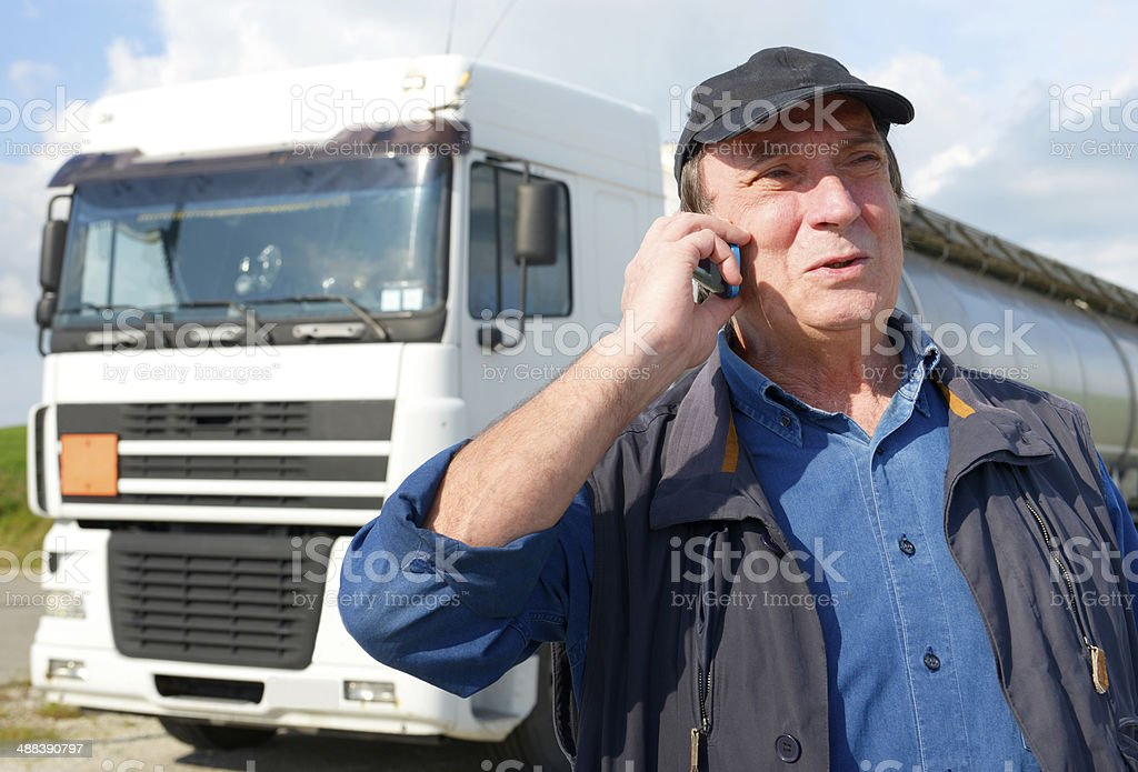 Truck Driver Phoning stock photo