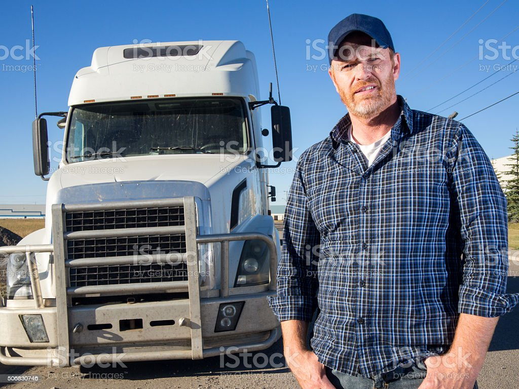 Truck Driver, Semi Truck and Shipping and Receiving stock photo