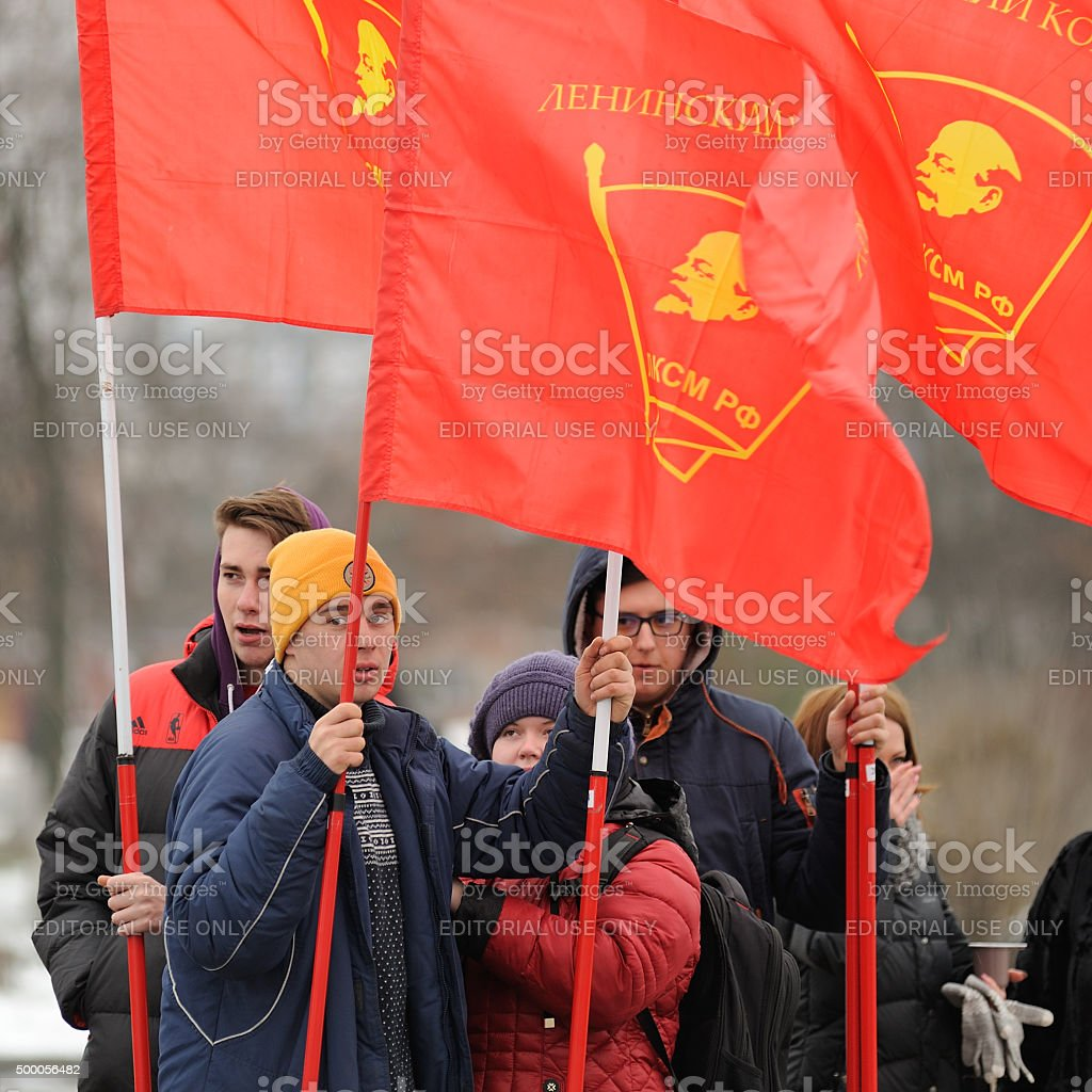 Truck drivers picket. Young men with red communist flags stock photo