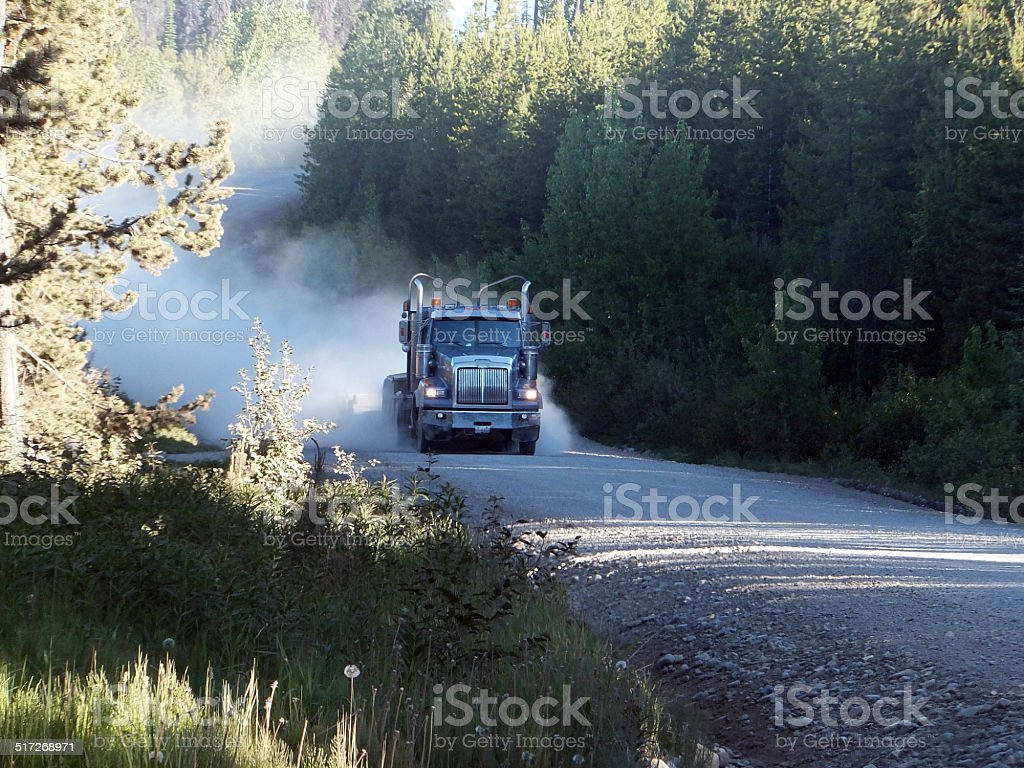 Truck dust plume stock photo
