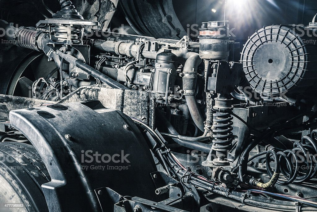 Truck engine close up stock photo