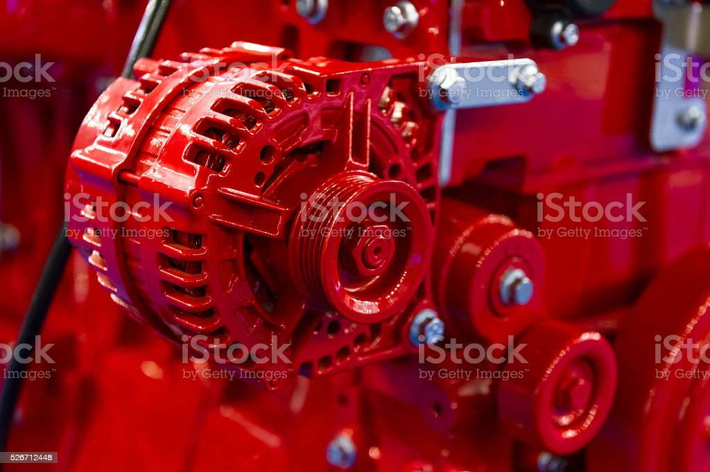 Truck engine detail stock photo