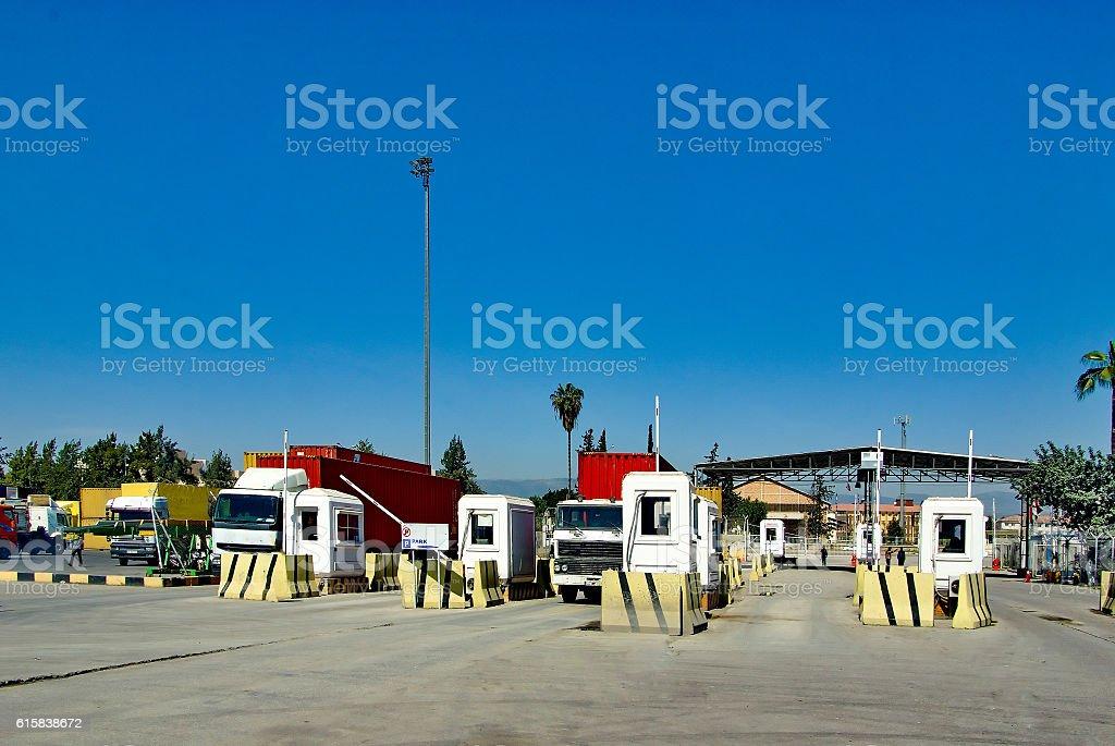 truck entrance stock photo