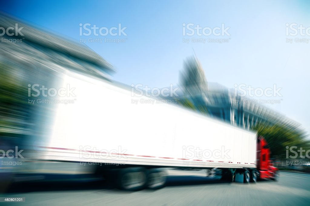 Truck Fast delivery in the city royalty-free stock photo