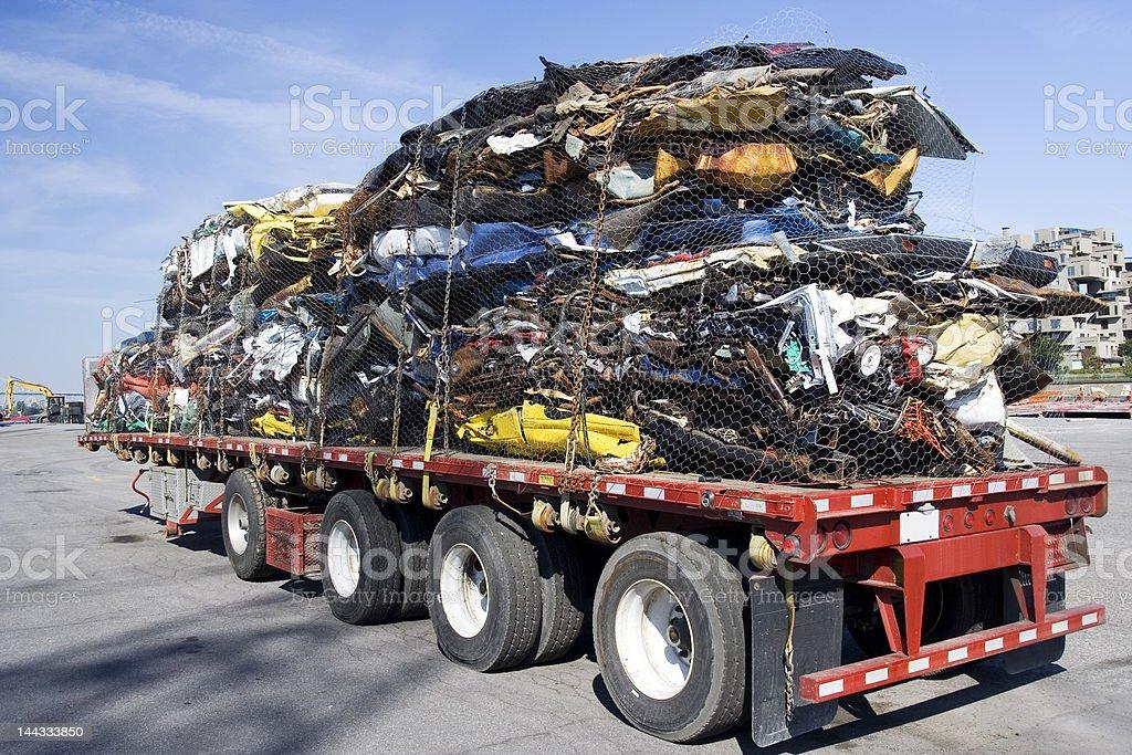Truck full of steel scrap royalty-free stock photo