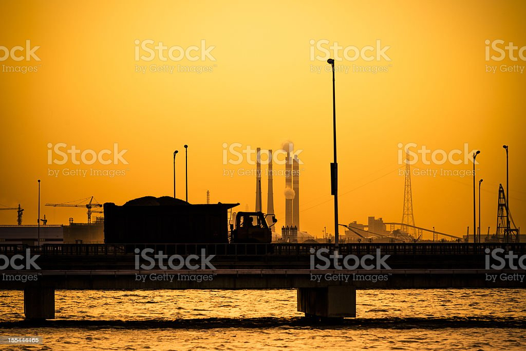 truck go through the  industrial district royalty-free stock photo