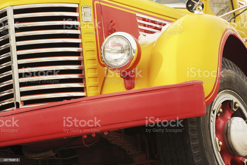 Truck Grille Headlight Bumper Fender Wheel stock photo