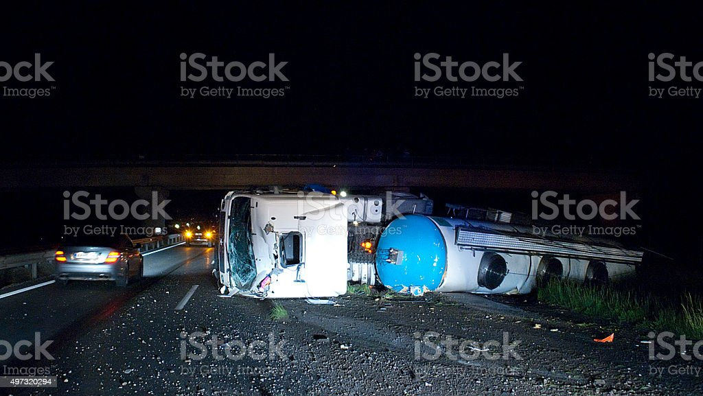 truck highway accident stock photo
