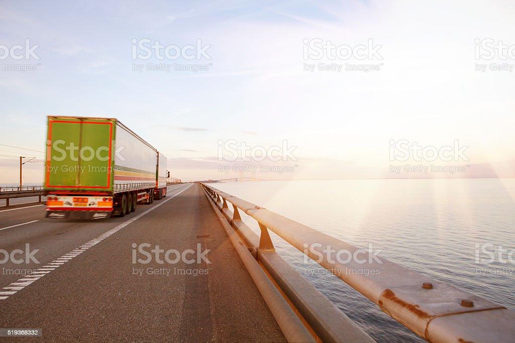 Truck i sunrise stock photo