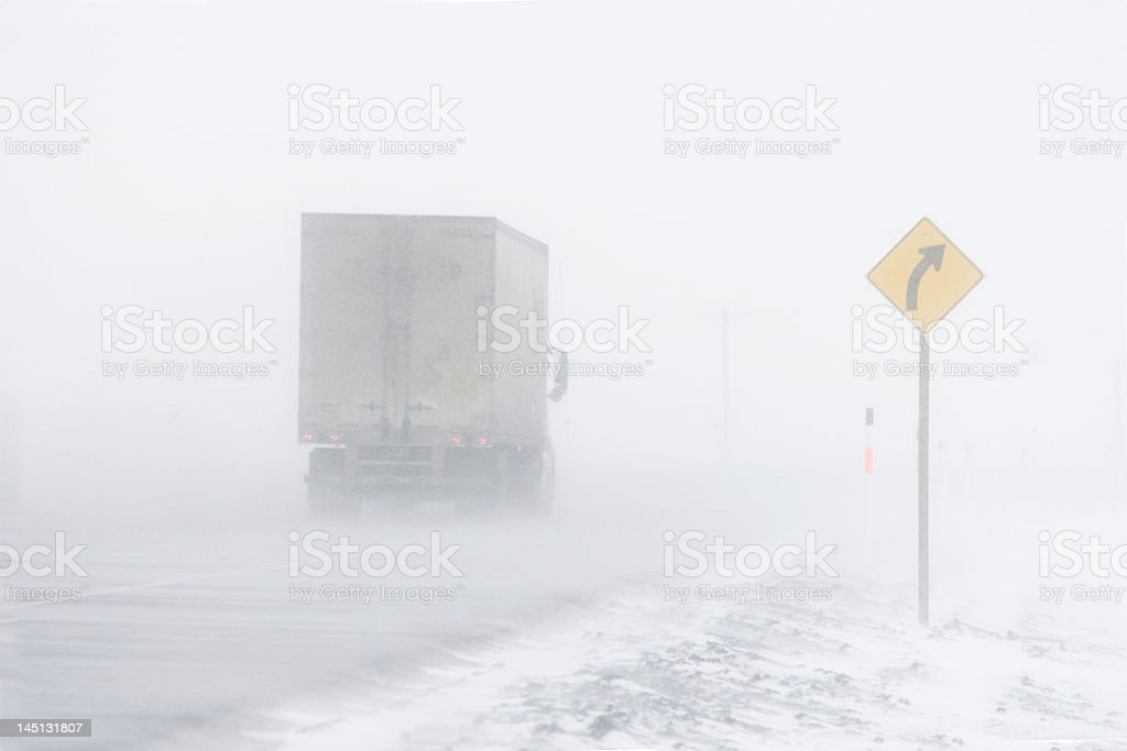 Truck in a Blizzard royalty-free stock photo