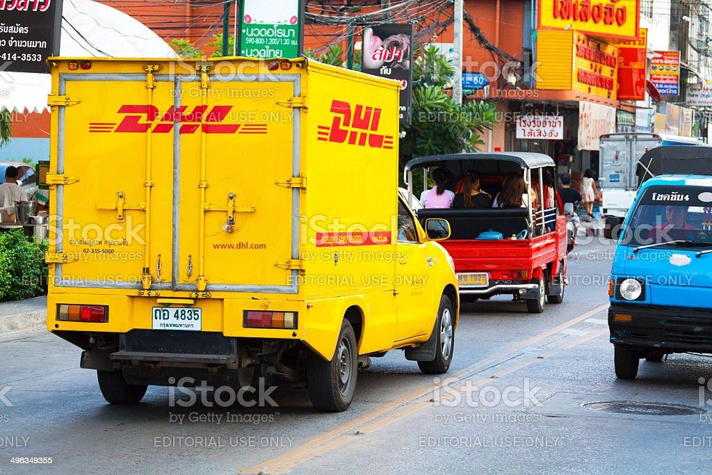 DHL truck in Bangkok royalty-free stock photo