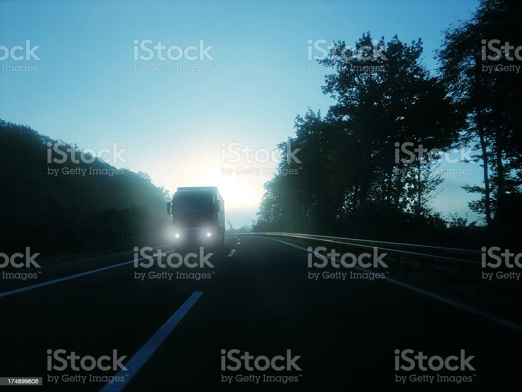 truck in cold  morning on highway stock photo