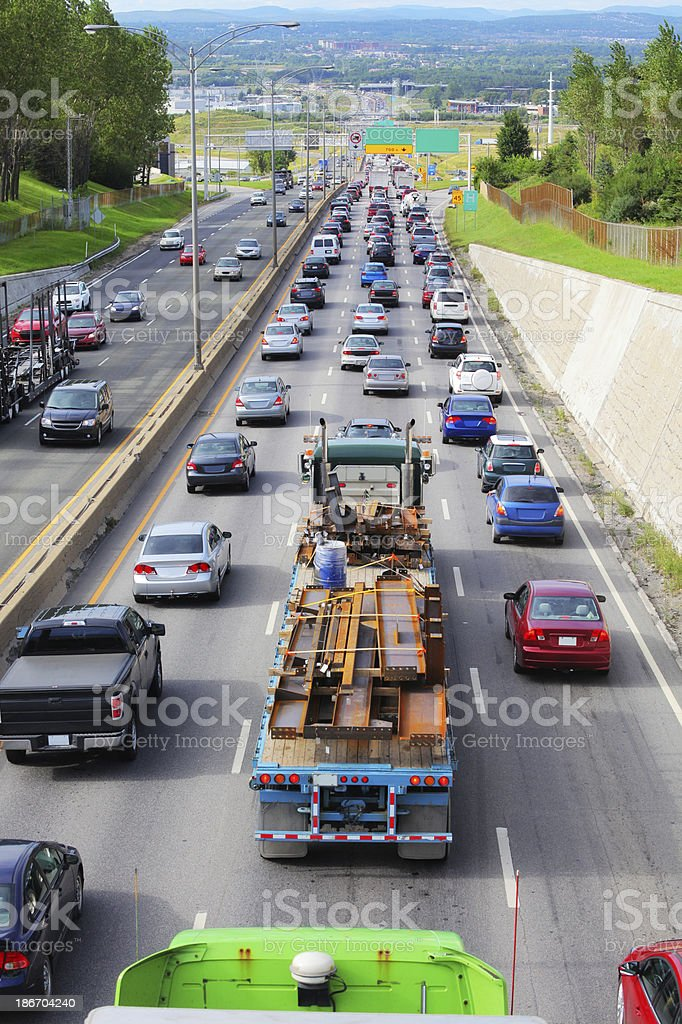 Truck in Highway Heavy Traffic royalty-free stock photo