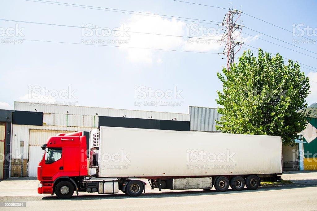 Truck in industrial area stock photo