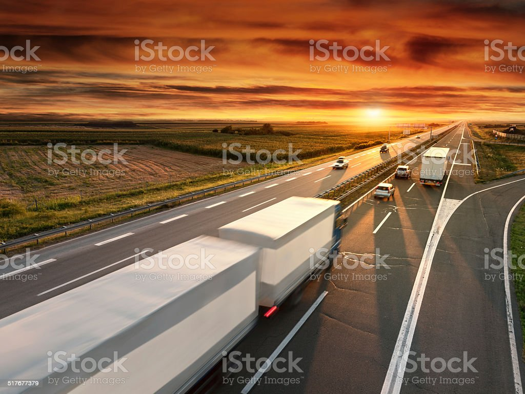 Truck in motion blur on the highway stock photo