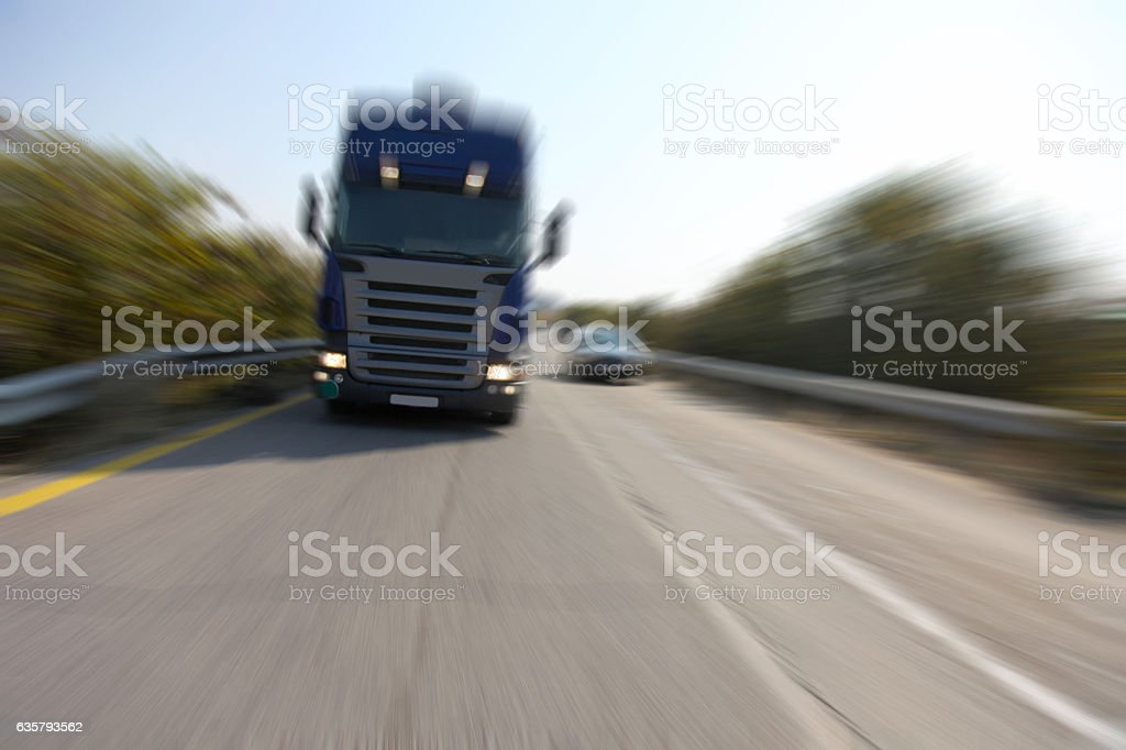 Truck in motion stock photo