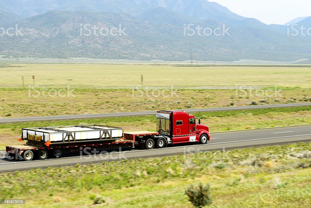 Truck in Nevada Interstate royalty-free stock photo