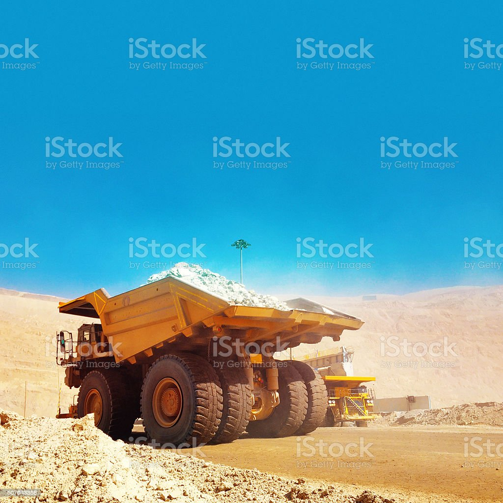 Truck in open mine stock photo