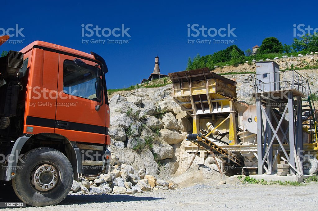Truck in quarry stock photo