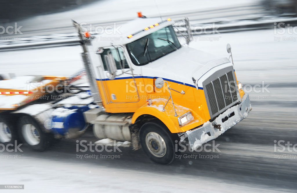 Truck in snow storm royalty-free stock photo
