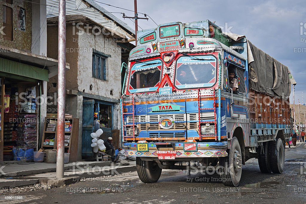Truck in The Gateway to Ladhak Dras Kargil India royalty-free stock photo