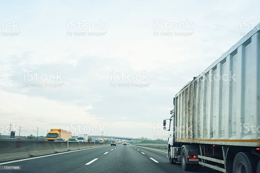Truck in the highway royalty-free stock photo