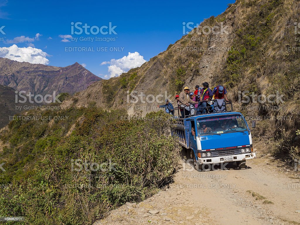 Truck in the Peruvian Andes stock photo