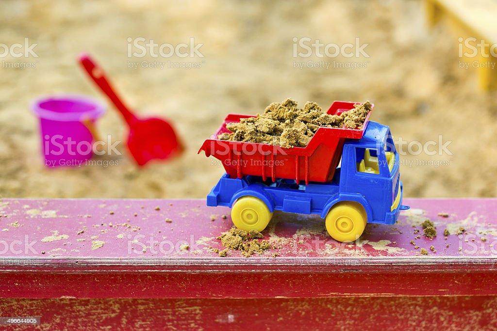 truck in the sandbox stock photo
